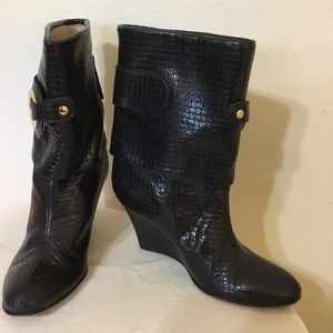 Goldenbleu Black Leather Wedge Slouch Boots 7 37